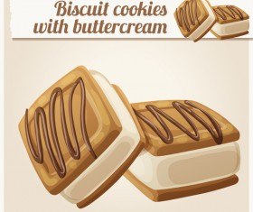 biscuit cookies with butter cream vector