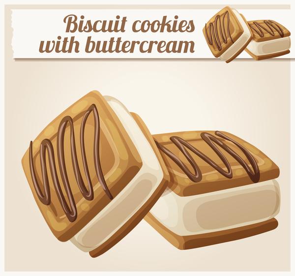 biscuit cookies with butter cream vector