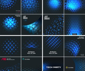 blue tech with black background vector 02