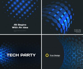 blue tech with black background vector 07