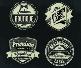 boutique restaurant labels retro vector