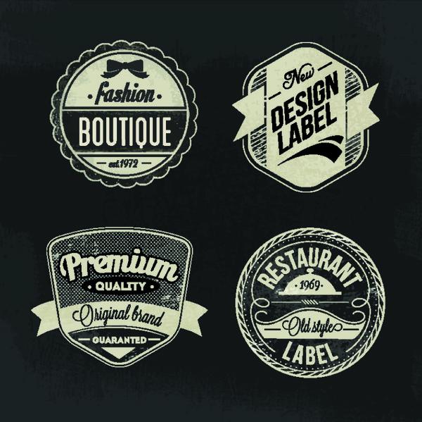 boutique restaurant labels retro vector