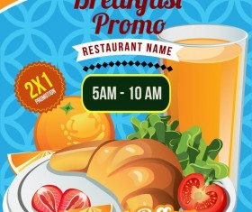 breakfast brochure poster template with bread vector