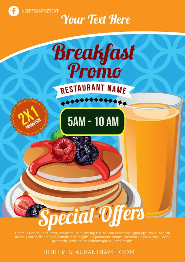 breakfast brochure template with pancake vector