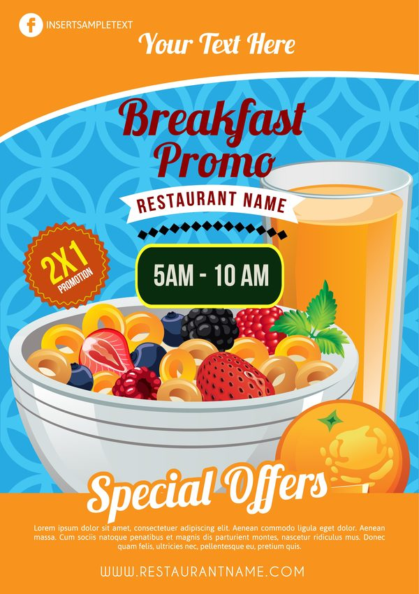 breakfast poster template with muesli vector