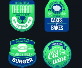 burger with wine with bakes and farm labels vector