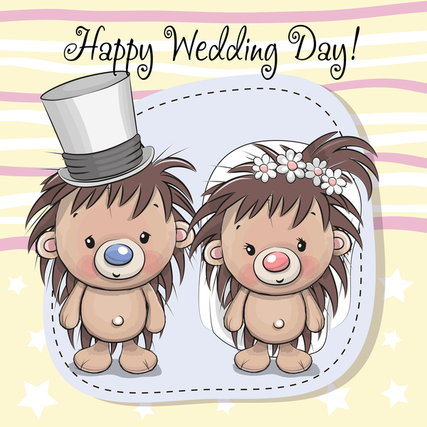 cartoon hedgehogs with wedding invitation card vector