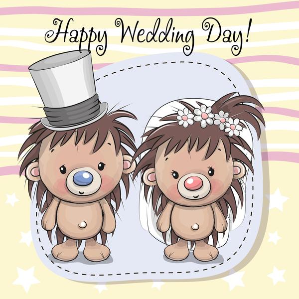 cartoon hedgehogs with wedding invitation card vector
