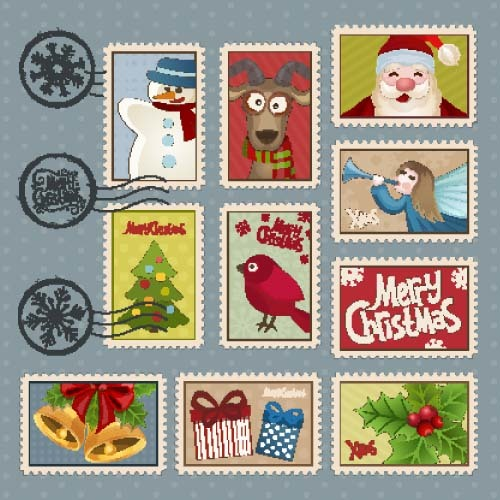 christmas postage stamps template vector