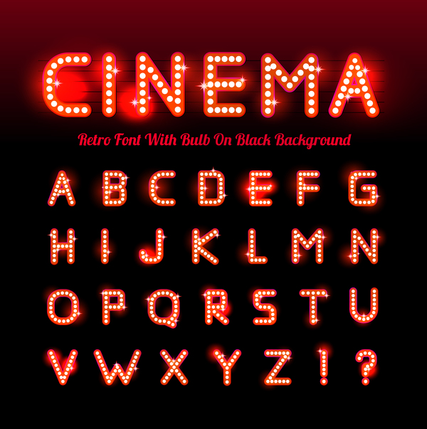 cinema font with black background vector