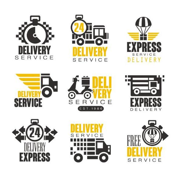 delivery service labels vector