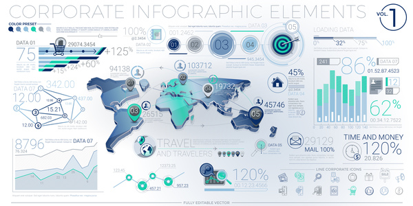 detailed corporate infographic template vector 01