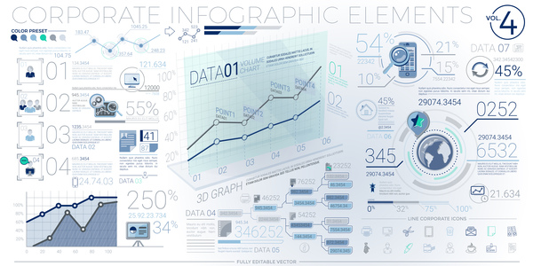 detailed corporate infographic template vector 04