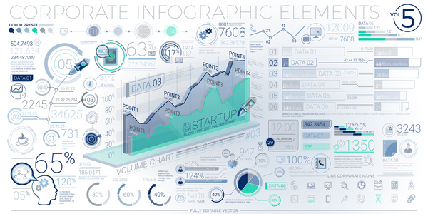 detailed corporate infographic template vector 05