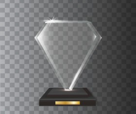 diamond shape acrylic glass trophy award vector