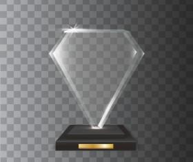 diamond shape acrylic glass trophy award vector