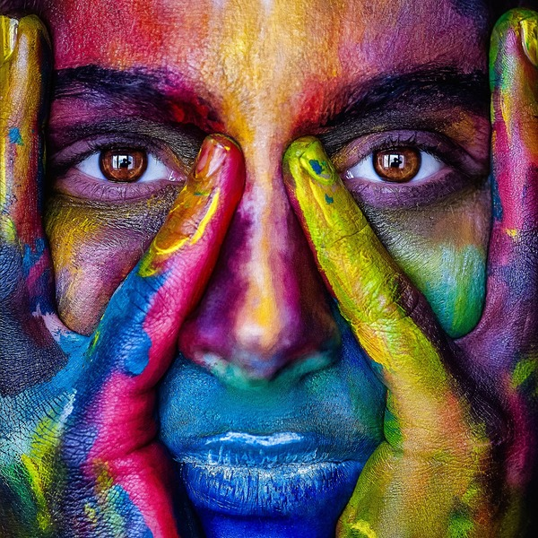 Face Covered With Paint Stock Photo Free Download