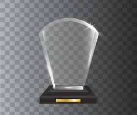 fan-shaped acrylic glass trophy award vector