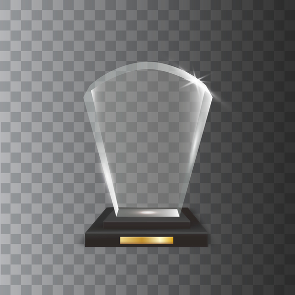 fan shaped acrylic glass trophy award vector
