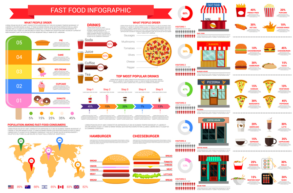 fast food infographic vector