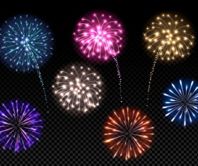 festival colored fireworks transparent illustration vector