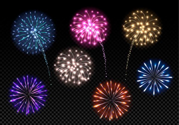 festival colored fireworks transparent illustration vector