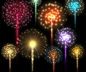 festival colored fireworks with black background vector