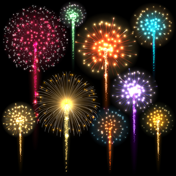festival colored fireworks with black background vector ...