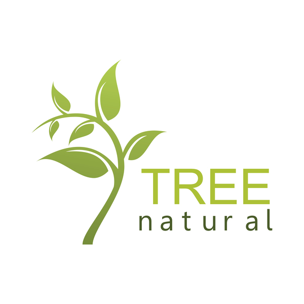 green tree natural logo vector