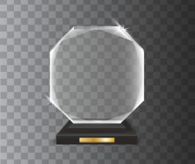 hexagon acrylic glass trophy award vector