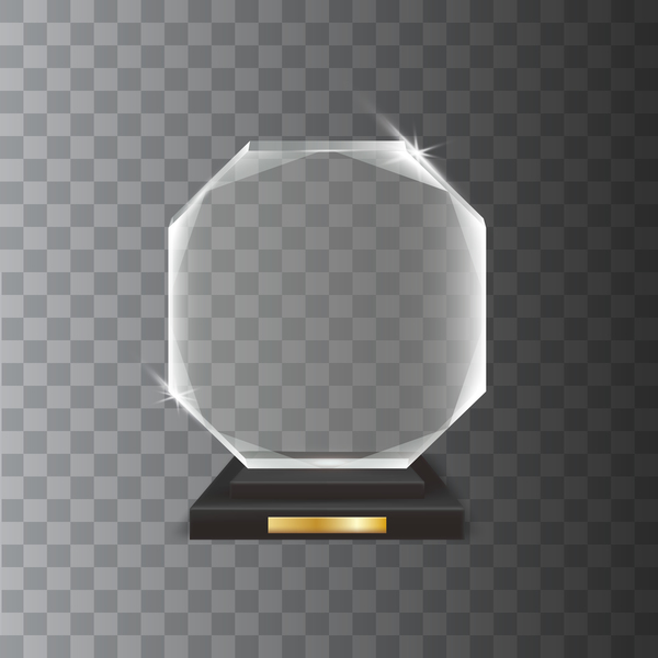 hexagon acrylic glass trophy award vector