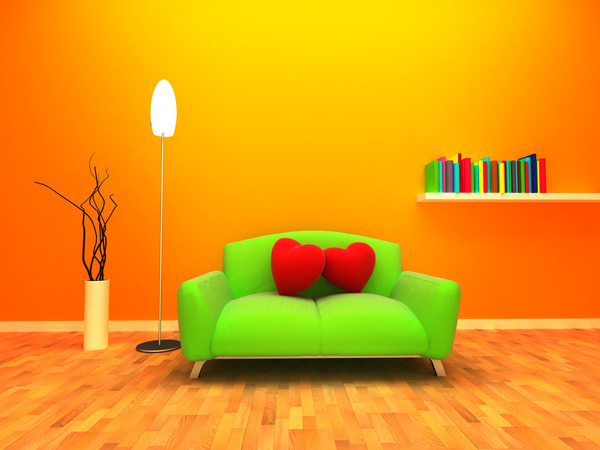 indoor decorative sofa Stock Photo