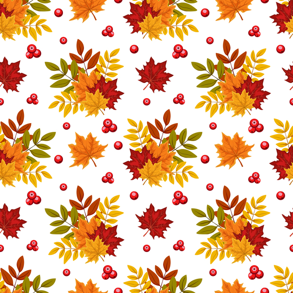 leaves with autumn fruit vector seamless pattern
