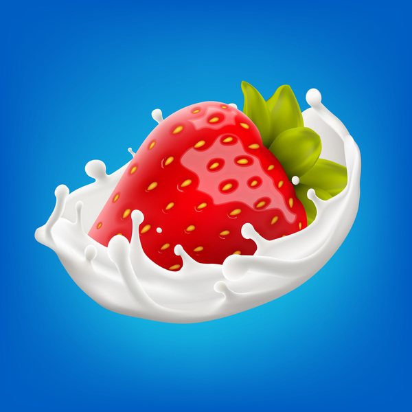milk splash with strawberry vector illustration