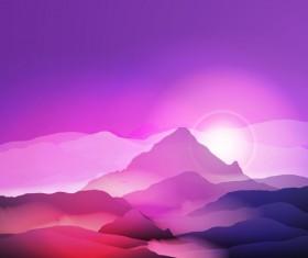 mountain sunrise landscape nature background vector 01