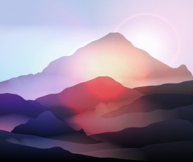mountain sunrise landscape nature background vector 02