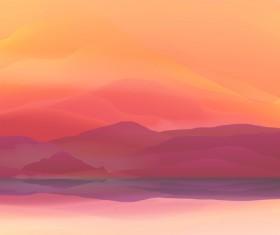 mountain sunrise landscape nature background vector 03