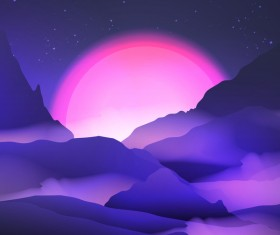 mountain sunrise landscape nature background vector 06