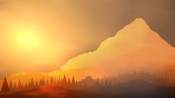 Sunrise Mountain with Pine Forest Landscape - Vector Illustratio