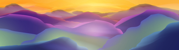 Sunset or Dawn Over the Mountains Landscape Panorama - Vector Il