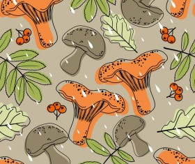 mushroom with autumn leaves pattern vectors