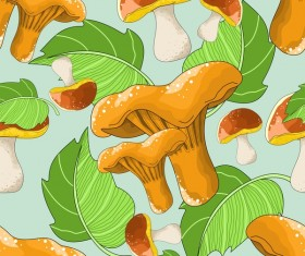 mushroom with green leaves seamless pattern vector