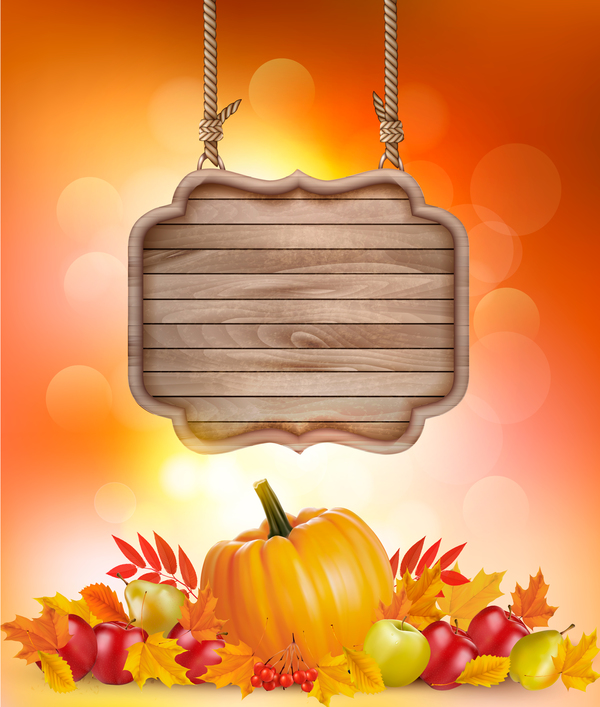 nature autumn background with wooden sign vector