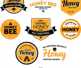 organic honey labels vectors