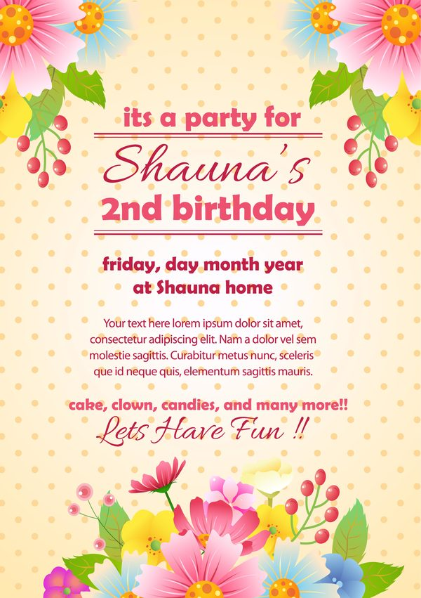 party invitation card with flower vector template 01