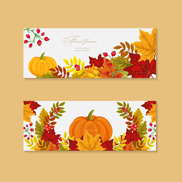pumpkin with autumn banners vector
