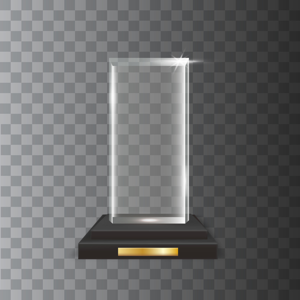 rectangle acrylic glass trophy award vector