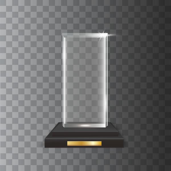 rectangle acrylic glass trophy award vector