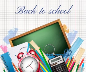 school background with colorful supplies vector