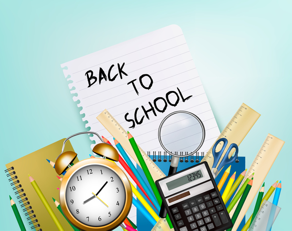 school background with supplies vector